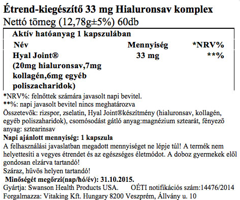 """Képtalálat a következőre: """"Hyaluronsav 33mg komplex kapszula"""""""